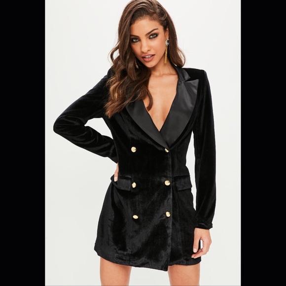 be1de773302 Missguided black velvet gold button blazer dress s